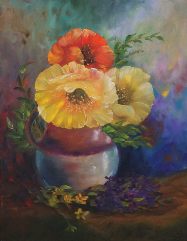 Poppies in a jug by Randy Robinson
