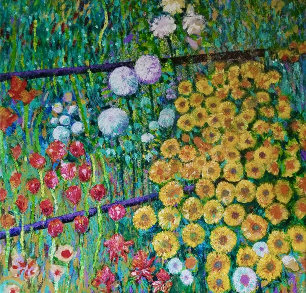 Yellow Flowers at Giverny by Joe Roache