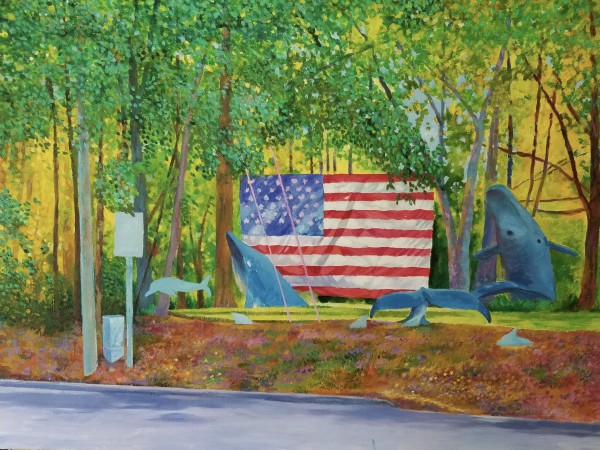 Whales and Flag by Joe Roache