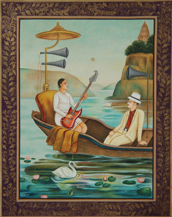 I am Serenaded on the Lake - Homage to Ravi Varma by Waswo X. Waswo