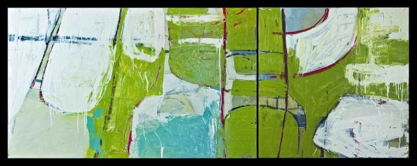 Chairs (diptych, green) by D Hake Brinckerhoff