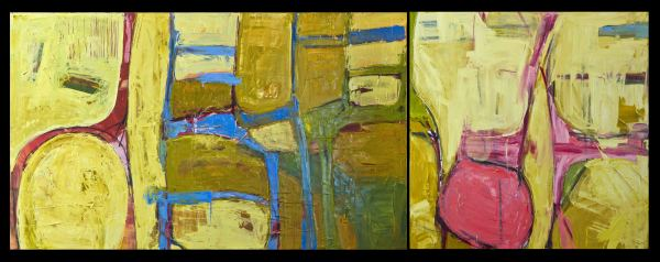 Chairs (diptych, pink and yellow ocher) by D Hake Brinckerhoff