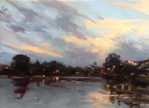 Sunset Near Lambertville Bridge by Laurie Maher