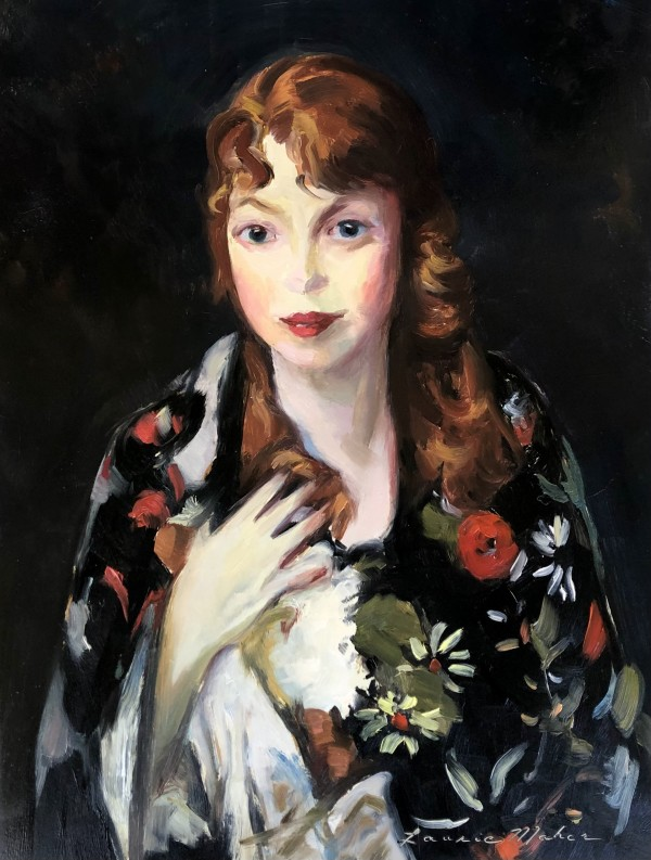 Edna Smith in a Japanese Wrap - After Robert Henri by Laurie Maher