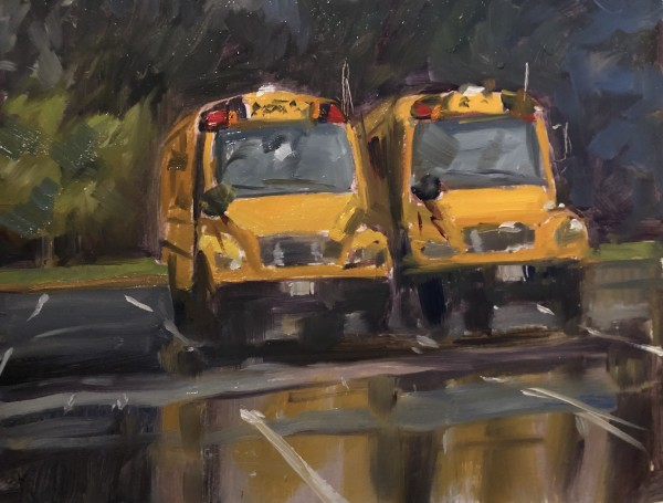 School buses in Wet Parking Lot by Laurie Maher