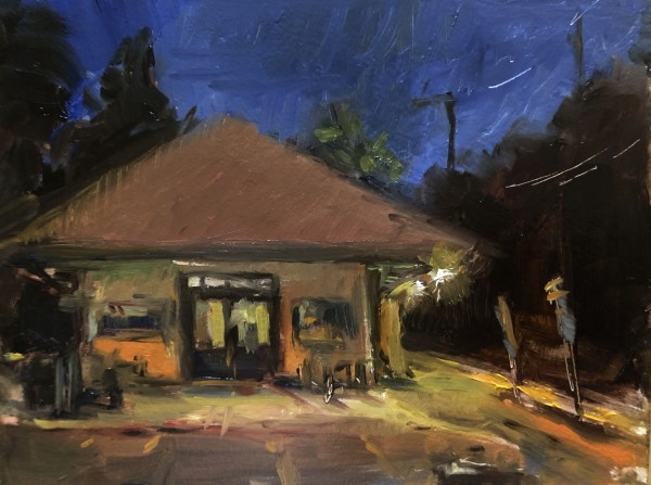 Basking Ridge Train Station at Night by Laurie Maher
