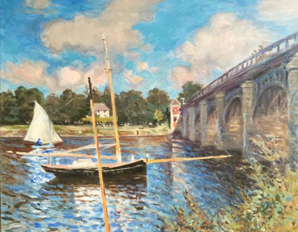 The Bridge at Argenteuil- After Claude Monet by Laurie Maher