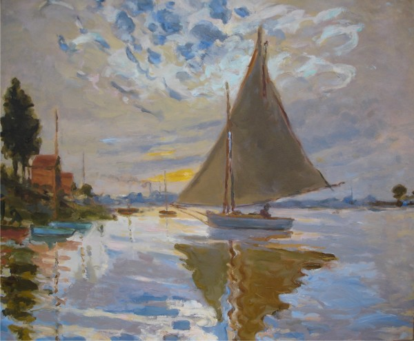 Sailboat at le Petit Gennevilliers- After Claude Monet by Laurie Maher