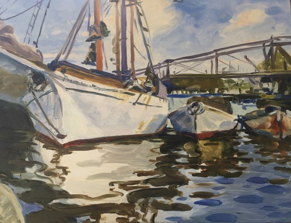 Boats At Anchor- After John Singer Sargent by Laurie Maher