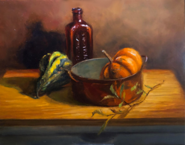 Still Life with Amber Bottle by Laurie Maher