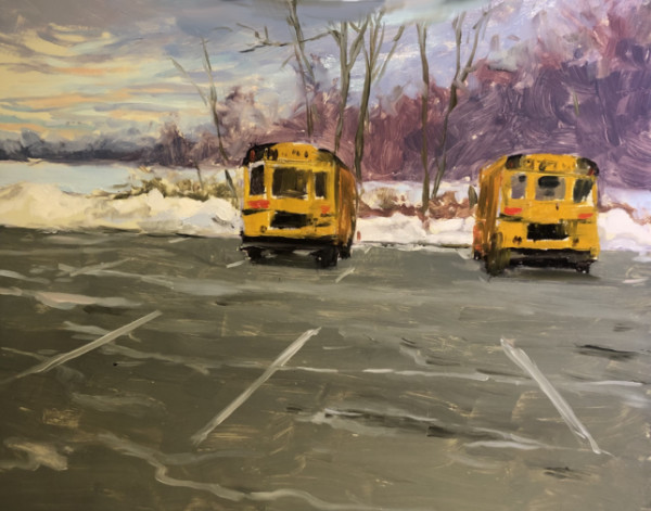 School Buses in Snowy Parking Lot by Laurie Maher