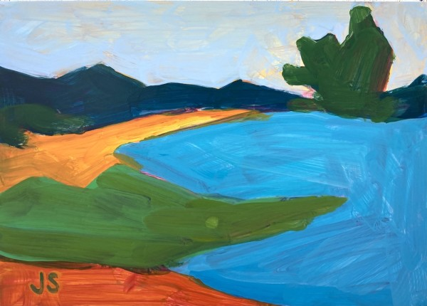 Farmland with tree and bright blue by Jessica Singerman