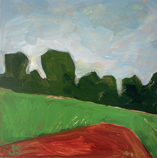 Field and forest with red by Jessica Singerman