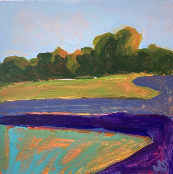 Field and forest with violet and purple by Jessica Singerman