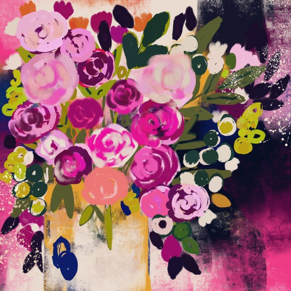 Love you bunch- floral abstract by Urvashi Patel