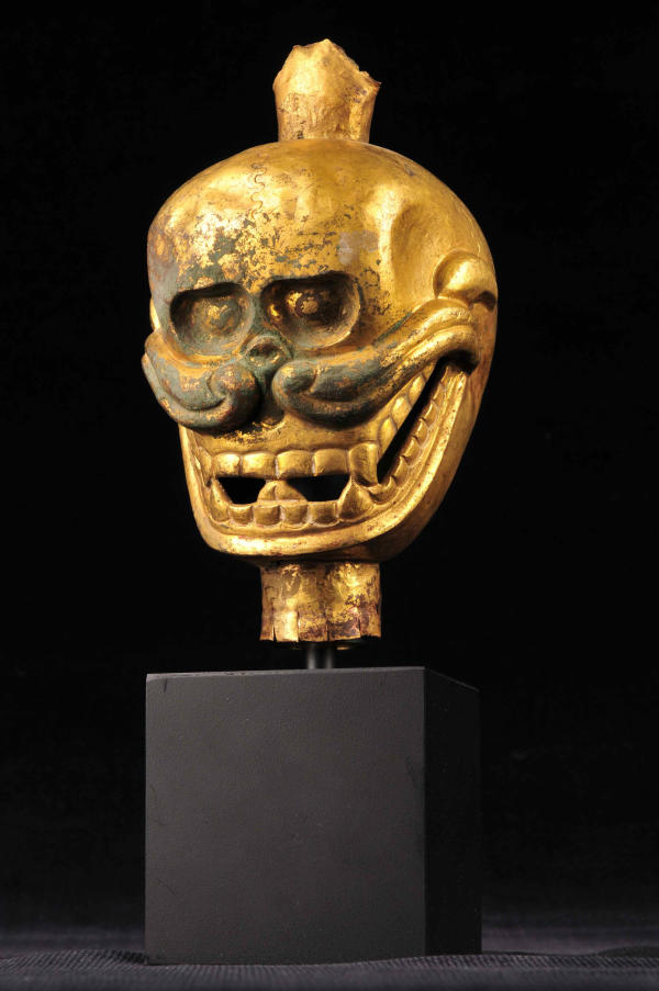 Copper Enameled Tibetan Skull (1) by Unknown