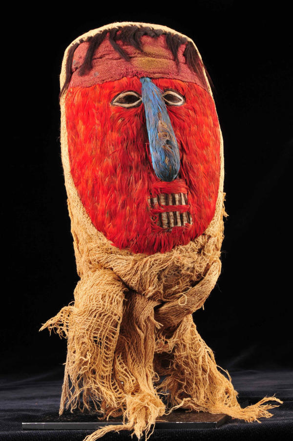 Peruvian Huari Feather False Mummy Head by Unknown