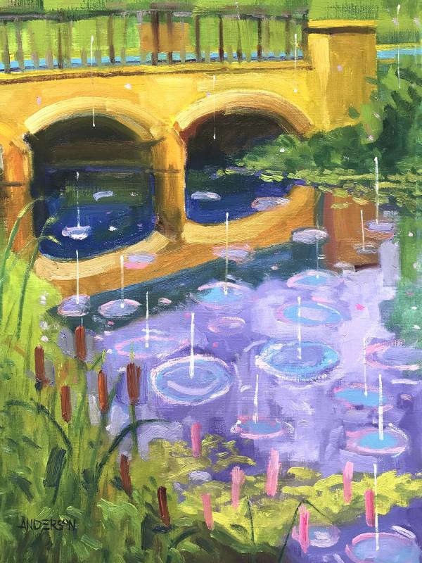 Yellow Bridge, Rain Drops by Michael Anderson
