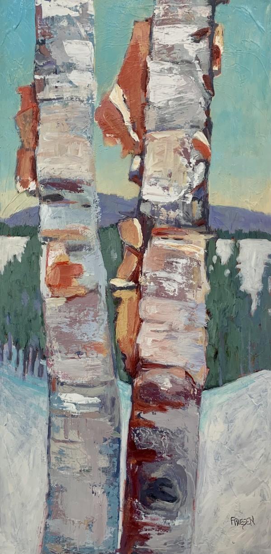 Birch in Winter Landscape by Holly Friesen