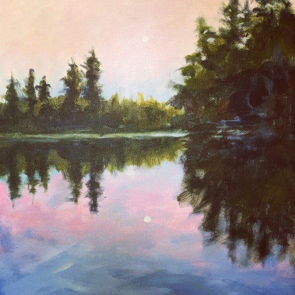 Moon Rise on the Raquette River by Holly Friesen