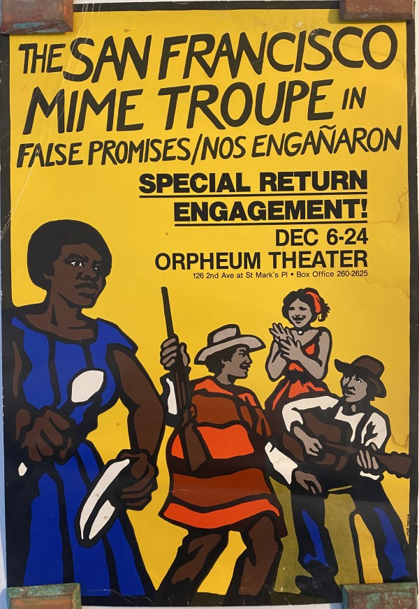 2 San Francisco Mime Troupe posters: The San Francisco Mime Troupe in False Promises; Gutter Puppets and Gorilla Band by Jane Norling