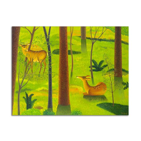 Deer in Woods by Jane Troup
