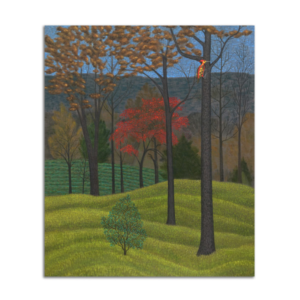 Landscape with Red Tree and Woodpecker by Jane Troup