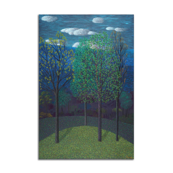 Trees on Blue by Jane Troup