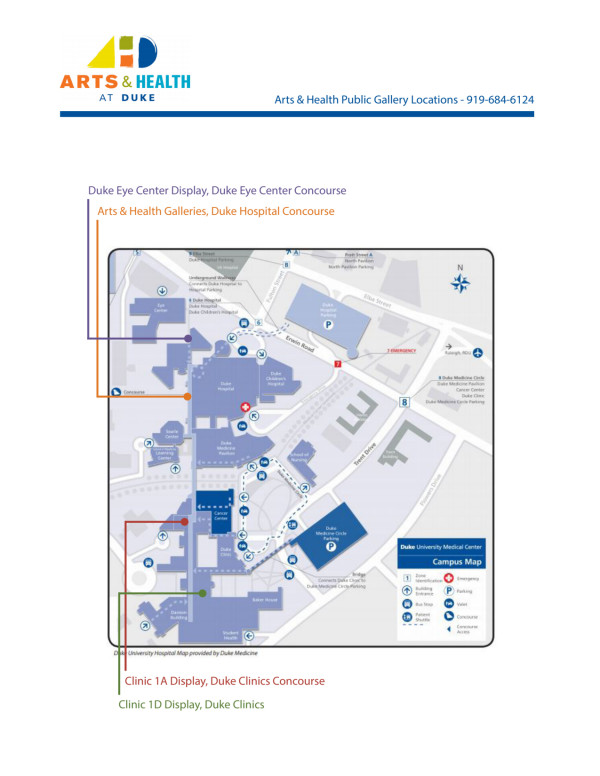Arts and Health Exhibit Spaces Map by Arts and Health at Duke