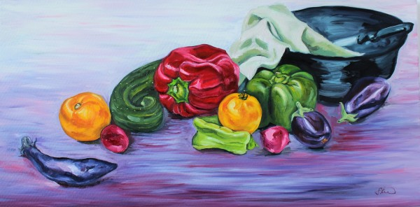 Still Life with Bowl and Vegetables by Sonya Kleshik