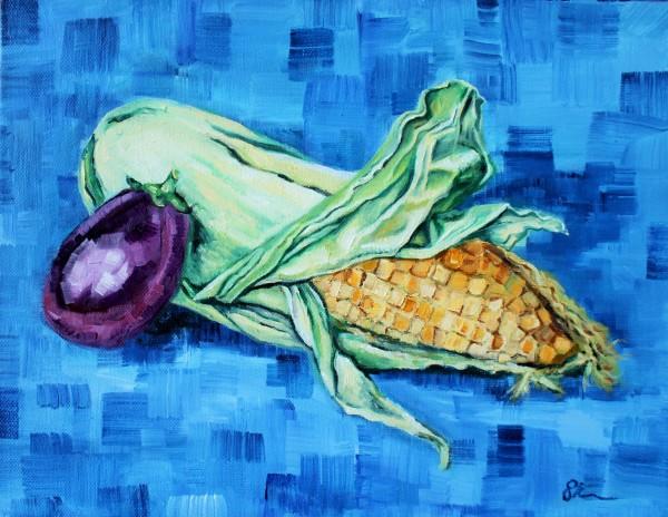 Corn and Eggplant by Sonya Kleshik