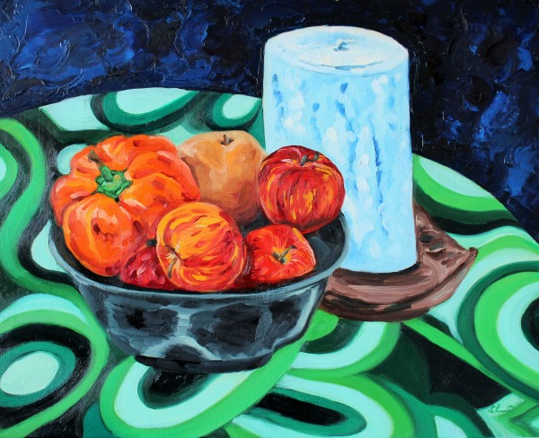 Still Life with Candle, Fruit, and Pepper by Sonya Kleshik