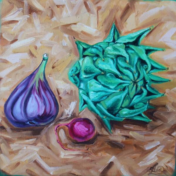 Artichoke, Fig, and Radish by Sonya Kleshik