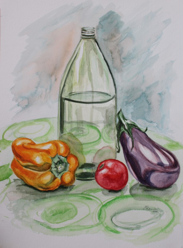 Still Life with Bottle and Vegetables by Sonya Kleshik