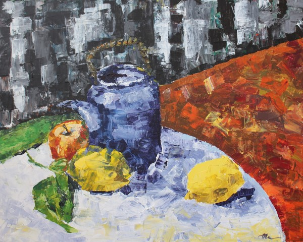 Still Life with Purple Teapot and Fruit by Sonya Kleshik