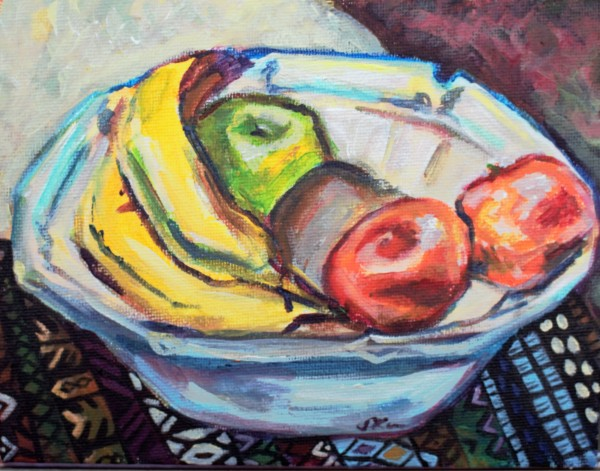 Still Life with Bananas, Apples and Mandarins by Sonya Kleshik