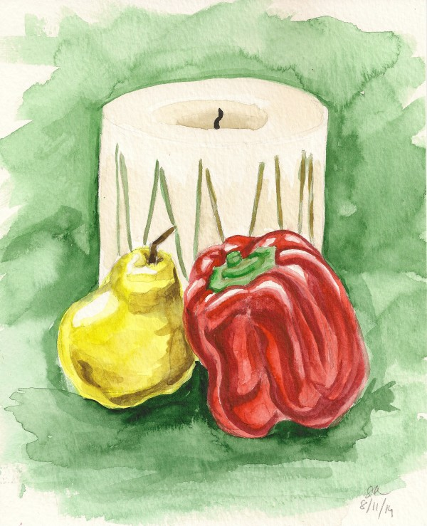 Still Life with Candle, Pepper and Pear by Sonya Kleshik