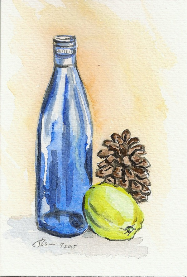 Still Life with Bottle, Pine Cone and Lemon by Sonya Kleshik