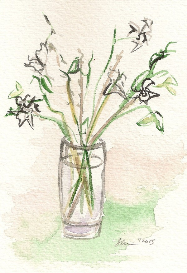 White Orchids in Glass by Sonya Kleshik