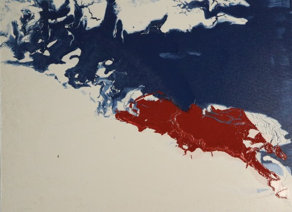 paintacial movement series I, no. 2 (blue, red, and white) by Paige Zirkler