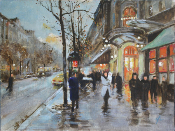 Outside the Theater, Paris (homage to EC) by Gary Hoff