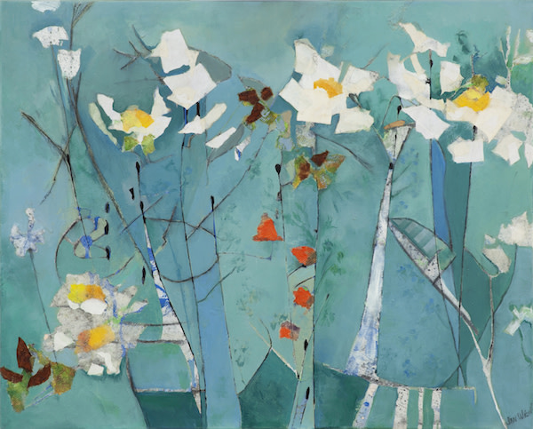 White flowers on Turquoise by Jan Widner