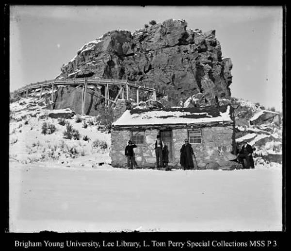 [People By Mountain Cabin] by George Beard