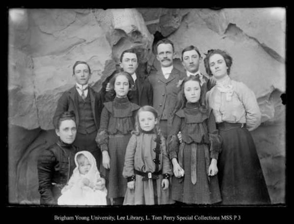 [George Beard Family up Chalk Creek above Coalville; Back: Arthur, Howard George, Edgar, Ethel; Front: Lovenia, Paul, Gladys, Glenn, and Edna] by George Beard