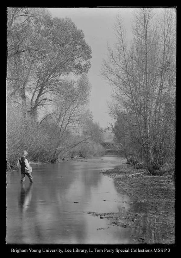 [George Beard fishing in Chalk Creek, Coalville, Utah] by George Beard