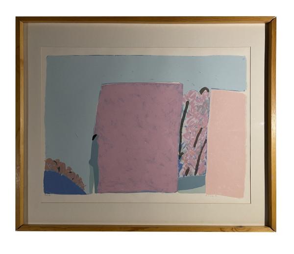 Woman Walking by a Pink Fence (Mujer caminando junto a barda rosa) by Joy Laville