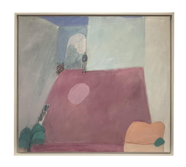 Man on His Patio and a View (Hombre en su patio y una vista) by Joy Laville