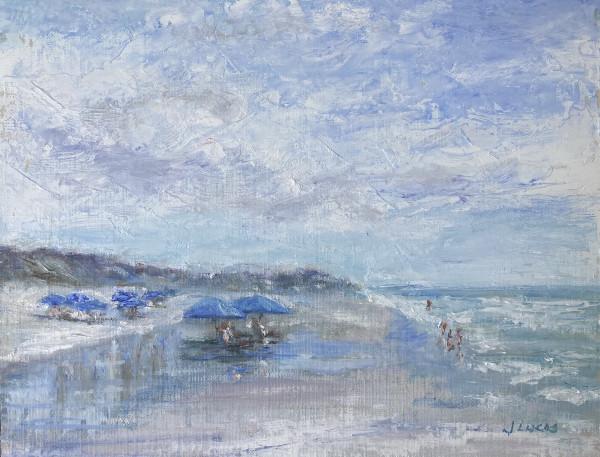 Blue Umbrellas by Janet Lucas Beck