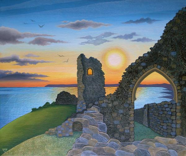 Autumn Sunset Over Hastings Castle by Jennifer Baird