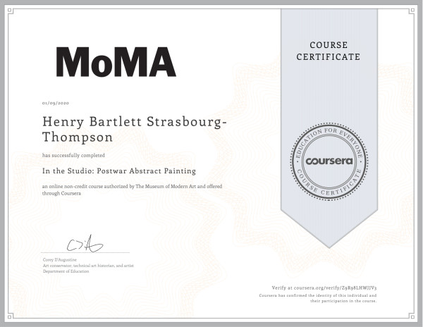 MOMA Certificate ... Postwar Abstract Painting by HB Barry Strasbourg-Thompson BFA